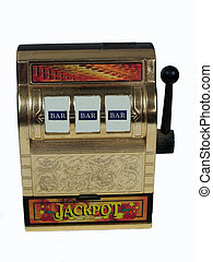 Winner - , a slot machine with winning bars on it,over white