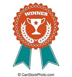 Winner award badge with wheat wreath