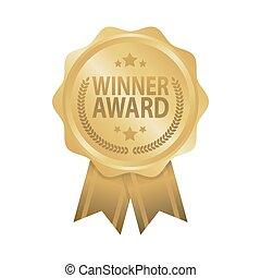 Winner award golden badge ribbon vector illustration