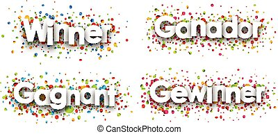 Winner banner with colorful confetti. - Winner paper banner...