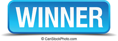 Winner blue 3d realistic square isolated button