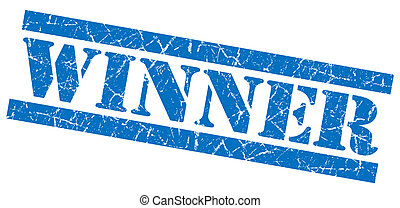 Winner blue grunge stamp