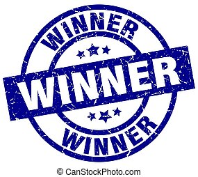 winner blue round grunge stamp