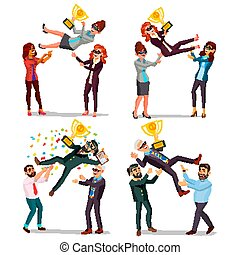 Winner Business People Set Vector. Man, Woman. Throwing Colleague Up. Colleague Celebrating Goal Achievement. First. Prize. Holding Golden Cup. Champion Number One. Flat Cartoon Illustration