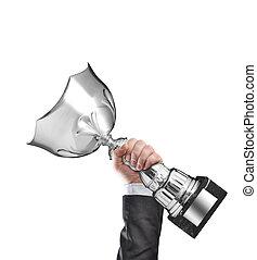 winner - Businessman holding a champion silver trophy