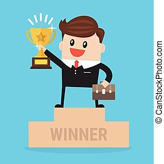 Winner businessman with winning trophy stand on a podium flat design