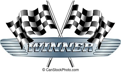 WINNER Checkered, Chequered Flags M