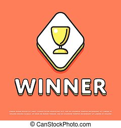 Winner colour icon with trophy cup