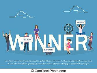 Winner concept set with winning combinations flat design