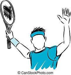 WINNER CONCEPT TENNIS PLAYER VECTOR ILLUSTRATION