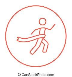 Winner crossing finish line icon.