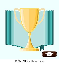 winner cup in opened book. education concept vector illustration