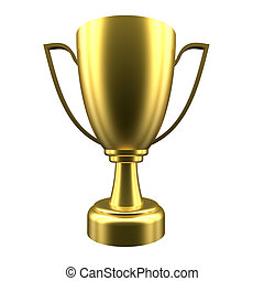 Winner cup on white background. 3d rendering