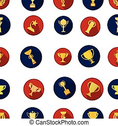 Winner cup pattern icons in cartoon style. Big collection of...