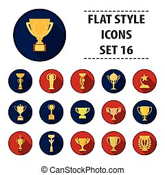 Winner cup set icons in flat style. Big collection of winner...