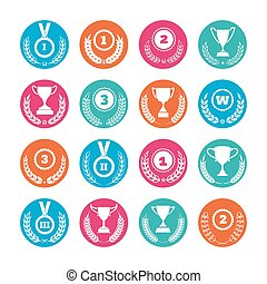 Winner cups and awards wreaths icons