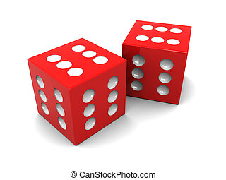 winner dices - abstract 3d illustration of two always ...