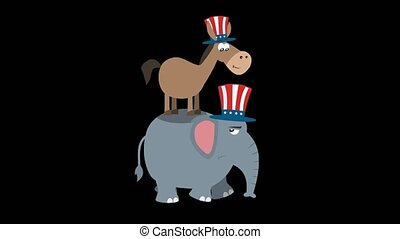 Winner Donkey Democrat On The Back Of The Elephant Republican. 4K Animation Video Motion Graphics Without Background