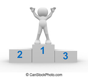 Winner - 3d people - human character, person in a podium...