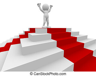 Winner - 3d people - human character, person and stairs with...