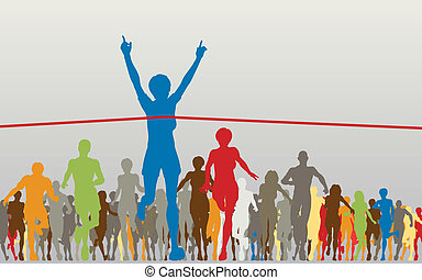Winner - Editable vector illustration of a woman winning a ...