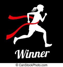 Winner female runner crossing finish line, sports champion vector concept