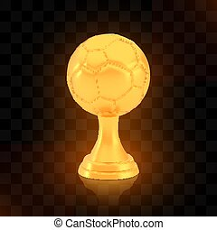 Winner football cup award, golden trophy logo isolated on black transparent background