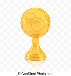 Winner football cup award, golden trophy logo isolated on white transparent background