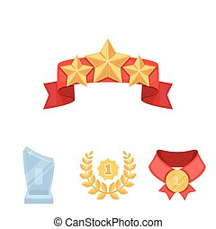 Winner for the first place in the competition, a crystal prize, a ribbon with the stars, a medal on the red ribbon.Awards and trophies set collection icons in cartoon style vector symbol stock illustration web.