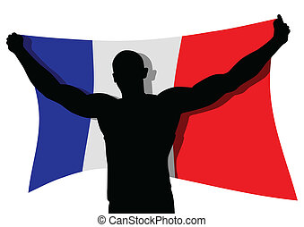 Winner France - Vector illustration of a man figure carrying...
