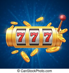 Winner gambling vector background with slot machine. Casino jackpot concept