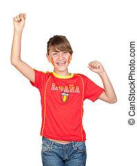 Winner girl fan of the Spanish team