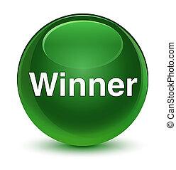 Winner glassy soft green round button