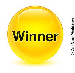 Winner glassy yellow round button