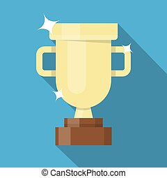 Winner golden cup - Golden winner cup. Trophy cup flat...