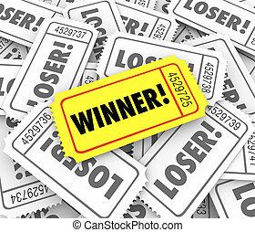 Winner Golden Ticket Lucky Odds Winning Lottery Jackpot Drawing