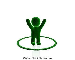 winner green person