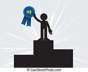 Winner Holding Ribbon