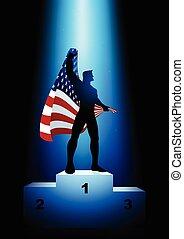 Winner Holding The Flag Of USA