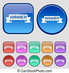 Winner icon sign. A set of twelve vintage buttons for your design. Vector