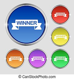Winner icon sign. Round symbol on bright colourful buttons. Vector