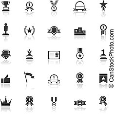 Winner icons with reflect on white background