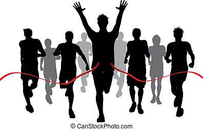 Winner - Silhouettes of men racing withone winner reaching...