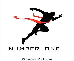 winner., línea, uno, número, fin