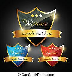 winner label - winner shiny golden vector label