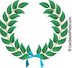 Winner Laurel wreath - Laurel wreath with a sky blue ribbon ...