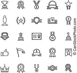 Winner line icons on white background