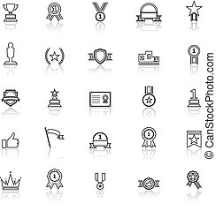 Winner line icons with reflect on white background