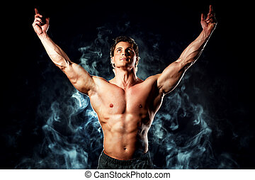 winner man - Portrait of a handsome muscular bodybuilder...