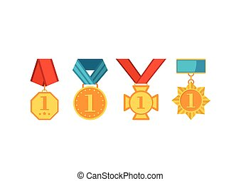 Winner medals with red and blue ribbons isolated on white background. Colorful collection of golden award circles with first number in flat style.
